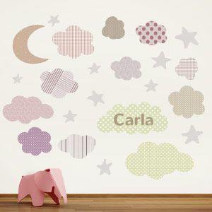 Adesivo murale Luna, stelle e nuvole personalizzabile