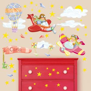 Adesivo murale Bambine aviatrici personalizzabile