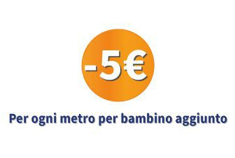 5€ di sconto per ogni metro per bambini aggiunto!